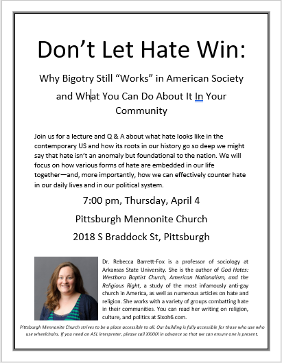 Don't Let Hate Win flyer